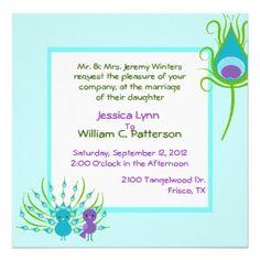 Colorful Peacocks Wedding Invitation