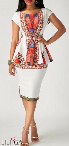 African Fashion Dashiki Print Back Slit Cap Sleeve Sheath Dress White Sheath Dress, White Peplum, Sheath Dresses, Peplum Dress, Dashiki Dress, African Men Fashion, African Fashion Dresses, Africa Fashion, Short African Dresses