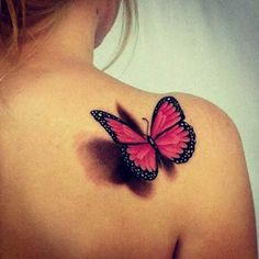 butterfly butterfly tattoo on shoulder, butterfly tattoos for women, pretty tattoos for women Tatoo 3d, Tattoo Pink, Detailliertes Tattoo, Butterfly Tattoos For Women, Butterfly Tattoo Designs, Tattoo Designs For Women, Realistic Butterfly Tattoo, Watercolor Butterfly Tattoo, Butterfly Tattoo Meaning