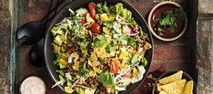 Taco Salad with Cilantro Vinaigrette – JuicyBites Small Food Processor, Food Processor Recipes, Frozen Corn, Canned Black Beans, Ground Chicken, Salad Bowls, Coriander, Cherry Tomatoes, Vinaigrette