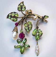 Antique Art Nouveau Demantoid Ruby Pearl Pendant / Brooch   eBay