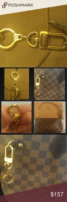Auth louis vuitton pochette extender key ring Authentic Louis Vuitton Pochette Extender key ring. This is no longer made! It retailed for $170, and is a perfect addition to any LV collection. It can be used as a purse charm bag charm key ring, or can make your Pochette longer as a Pochette Extender. You can bundle this with a Pochette in my closet :)  Normal wear, slight surface scratches. Otherwise still shiny and gorgeous!  Please note: I record myself packing and shipping at USPS for…