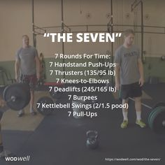 """""""The Seven"""" WOD - 7 Rounds For Time: 7 Handstand Push-Ups; 7 Knees-to-Elbows; 7 Pull-Ups Crossfit Workouts At Home, Kettlebell Cardio, Kettlebell Swings, 7 Workout, Workout Challenge, Insanity Workout, Workout Exercises, Training Fitness, Sport Fitness"""