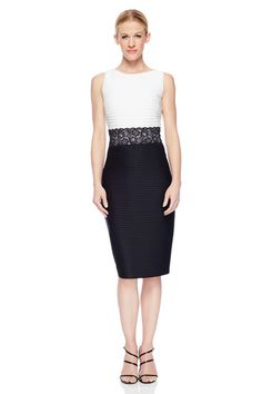 On Sale: Pintuck and Lace Sheath Dress- Define Define your curves with this tailored yet flirty look! We love the lace trim detail! #MaggyLondon #SummerStyle #B&W