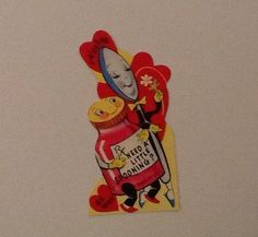 Vintage Valentine card RX medicine