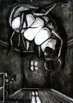 Giclee Print. Black and white. Kafka Metamorphosis. Limited Edition Art. Etching. Theatrical Illustration. Circus Wall Art. Surreal. Unique by sassyluke on Etsy