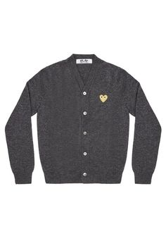 CDG PLAY A classic v-neck cardigan sweater with the iconic CDG heart. Embroidered CDG gold heart on wearer's left chest Button closure at the center front Women