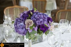 purple wedding table flower arrangements - Google Search