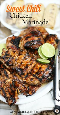 Sweet Chili Chicken is sweet and spicy with flavors of garlic, fresh ginger, soy, and sweet chili sauce. #sweetchilichicken #chickenmarinade #grilledchicken #marinade #chicken #grillingrecipes #grilled #sweetchili Easy Chicken Marinade, Chicken Fajita Recipe, Chicken Marinades, Grilled Chicken, Chicken Recipes, Chicken Meals, Healthy Chicken Sauce, Turkey Recipes, Easy Chicken Dishes