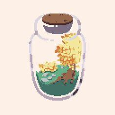 A glass bottle terrarium, a bit late for the #pixel_dailies theme. #pixelart