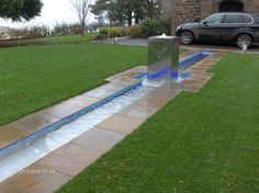 Stainless steel water feature with rill
