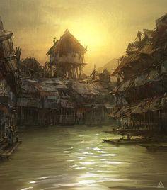 27 05 12 by Sanchiko on deviantART Fantasy landscape Fantasy city Fantasy town