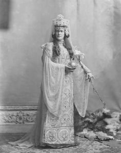 Lady Randolph Churchill, née Jennie Jerome, as Empress Theodora (d. 547 AD) in a costume supplied by J.P. Worth, Paris. Photographed by the firm of J. Lafayette at the Devonshire House Ball, July 2, 1897.