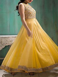 yellow net anarkali suits dress material
