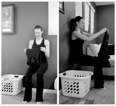 Once you've dead lifted your laundry, time to fold it. What better way to fold but with a wall sit! Stand with your feet shoulder width apart and then proceed to sit against the wall (keeping your back flat) and fold. If it gets too easy, try going on your toes in a releve, shoot for folding 5 pieces of laundry at a time