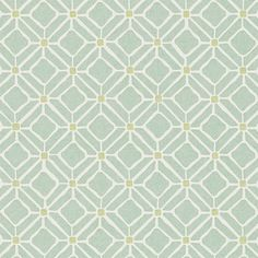 Aqua / Lime Green - 213720 - Fretwork - Chika - Sanderson Wallpaper