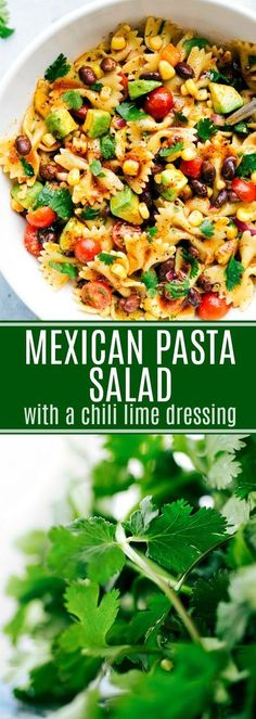 This Mexican pasta salad is packed with veggies, beans, and the most amazing chili-lime dressing! Delicious and healthier pasta salad! chelseasmessyapron.com #mexican #pasta #salad #pastasalad #bowtiepasta #cilantro #chillilimedressing #dressing #tomato #blackbeans #dinner #lunch #sidedish #quick #easy #familyfriendly #best #popular #simple