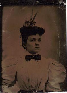 Tintype Photo Beautiful Woman Well Dressed Ribbon Hat w Accent Tiny Waist 1800s | eBay