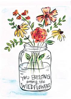 Wildflowers Watercolor Digital Fine Art Print You belong among the wild flowers hand letter quote. This watercolor and ink illustrations is so cute! The post Wildflowers Watercolor Digital Fine Art Print appeared first on Easy flowers. Watercolor And Ink, Watercolor Paintings, Watercolors, Watercolor Flowers, Quote Paintings, Calligraphy Watercolor, Watercolor Quote, Tattoo Watercolor, Watercolor Portraits