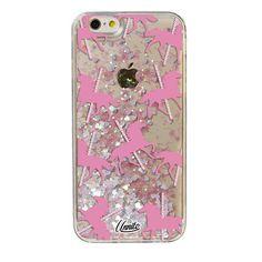 iPhone 6 Case Unicorn Carousel [Liquid Glitter - White Hearts] Unnito Case