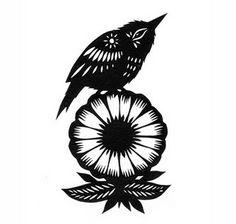 Bird on a Flower - Cut Paper Art Stencils, Stencil Vinyl, Paper Cutting Patterns, Paper Cutting Templates, Fine Paper, Cut Paper, Sick Tattoo, Paper Lace, Bird Silhouette
