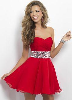 Red Pleated Rhinestone Waist Short Blush 9683 Prom Dress
