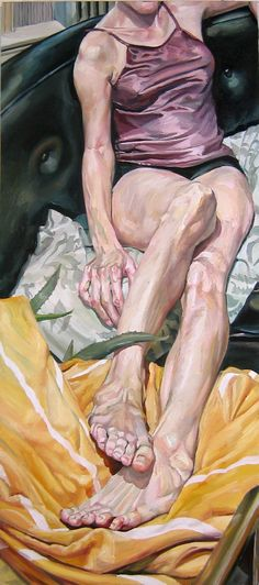 """Pair of Feet"" - Stephen Wright, oil on canvas {contemporary figurative art female legs seated woman painting} stephenwrightart.com"