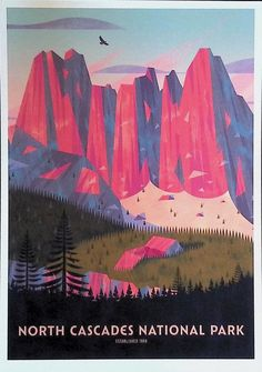 Cascade National Park, North Cascades National Park, National Parks, Cards, Painting, Painting Art, Paintings, Maps, Painted Canvas