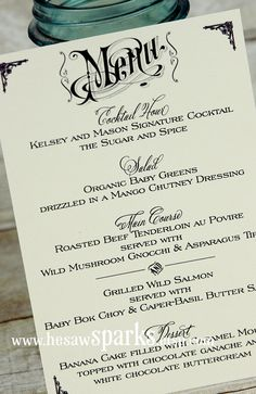 Vintage Wedding Menu Card  Printable DIY by HeSawSparks on Etsy, $20.00