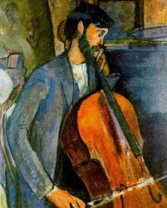 'The Cellist' 1909, Modigliani.  Art Experience NYC  www.artexperiencenyc.com/social_login/?utm_source=pinterest_medium=pins_content=pinterest_pins_campaign=pinterest_initial
