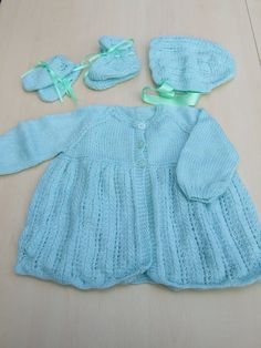 Hand knitted baby matinee cardigan bonnet booties by Knittingtopia