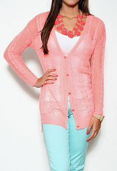 Sheer Knit Button Front Cardigan