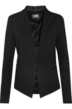 Karl Lagerfeld - Ikonik Punto Satin-trimmed Crepe Blazer - Black - IT38