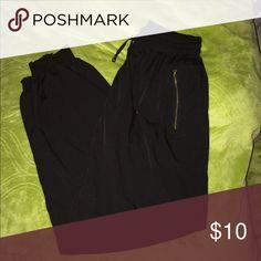 Black Jogger Pants Black jogger pants with gold zippers Pants Track Pants & Joggers