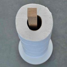 Toiletrolhouder wit en eik (ronde voet) | m|atelier Meubelmakerij Online Shop Design Decoratie & Trendy Woonaccessoires