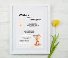 Wishes on your Naming Day illustrated poem, unique personalised baby gift (framed) for baby boy or baby girl, unisex nursery art print Gifts For New Parents, Gifts For Boys, Baby Girl Gifts, New Baby Gifts, Names Girl, Family Wishes, Naming Ceremony, Personalized Baby Gifts, Christening Gifts
