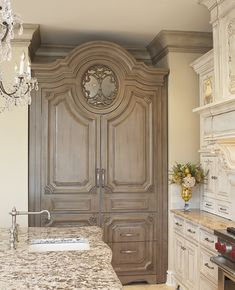 beautiful Cabinetry and Armoire Refrigerator French Decor, French Country Decorating, Luxury Kitchens, Home Kitchens, Armoire, Beautiful Kitchens, Beautiful Interiors, Home Staging, Home Remodeling