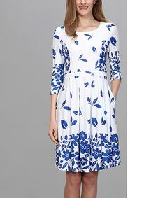 This White & Navy Falling Petal Fit & Flare Dress - Women is perfect! #zulilyfinds