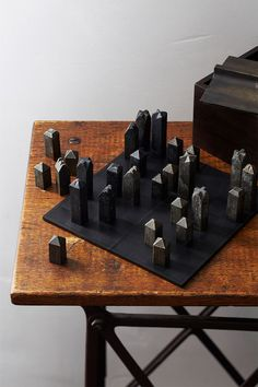 The Langdon Walnut & Steel Chess Set