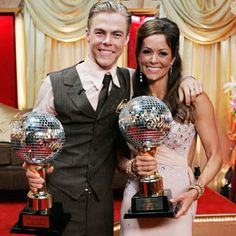 Derek Hough & Brooke Burke (lbecame the show's co-host after Samantha left)  -  Dancing With the Stars - Season 7 winners