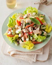 Chicken Salad with Cucumber, Red Pepper, and Honey-Mustard Dressing |  If you want just chicken salad with no greens, skip the lettuce; double the chicken, cucumber, bell pepper, onion, and tarragon; and toss them with the dressing.