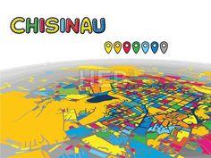 Chisinau, Moldova, Downtown 3D Vector Map by #Hebstreit #stockimage #capital #travel #beautiful #sketch #greetingcard #design #famous #landmark