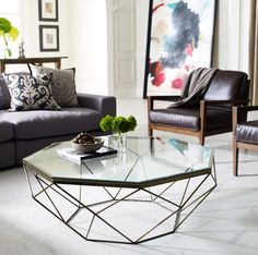 Geometric Antique Brass Coffee Table with Glass Top | Zin Home
