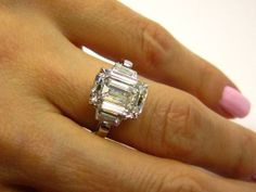 Exquisite...5.02ct Estate Vintage Emerald Cut Diamond EGL USA Three Stone Engagement Anniversary Wedding Ring In Platinum