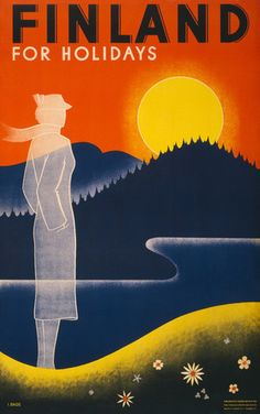 30's poster art Finland for Holidays