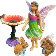 Fairy Flower Garden Miniature Set of 4 pcs Premium Quality Hand Painted Figurines  Accessories Kit For Outdoor or House Decor By Mood Lab