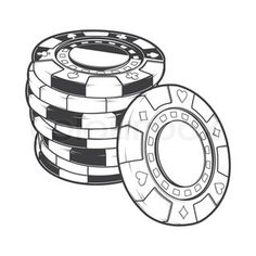 Poker chips drawing