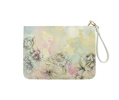 Watercolor flower - Zipper Pouch - White. MEASURE: 7 x 9 in (18 x 23 cm). Perfectly suit for multi purposes - make-up organizer, pencil case, toiletry bag, arts & crafts organizer, and much more!. HANDSEWN FROM HIGH QUALITY FAUX / PU SOFT LEATHER: all pouches are hand made from the finest leather, manufactured according to a traditional process that produces a sustainable, durable and water resistant leather. HIGH QUALITY, SMOOTH FEELING METAL ZIPPER. DETACHABLE STAINLESS WRIST STRAP. TWO...