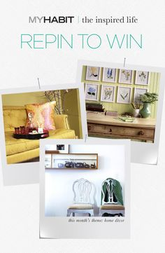 Repin your favorite home decor from our 'The Inspired Life' board to win a $250 MyHabit Gift Card!