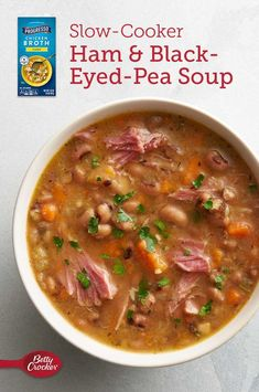 This recipe is proof that soup is a perfect food to slow cook. The low and slow cooking softens up the ham hock and infuses the black-eyed peas with loads of flavor, without turning them to mush. Slow Cooking, Cooking Recipes, Healthy Recipes, Cooking Ideas, Yummy Recipes, Food Ideas, Black Eyed Pea Soup, Stove Top Meatloaf, Peasant Food